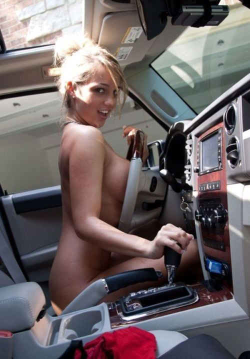 Sexy amateur girls posing in cars.
