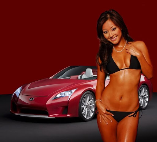 Hot bikini girl and car