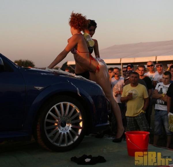 sexy girls washing a car