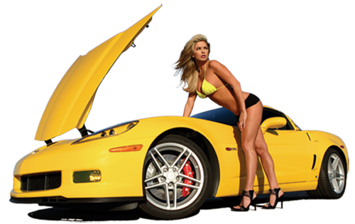 Sexy Blonde Girls & yellow car