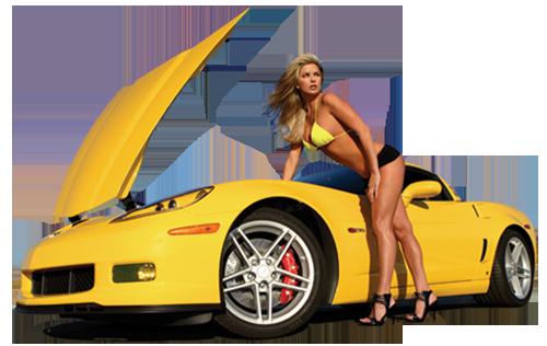 Sexy Blonde Girls & yellow car