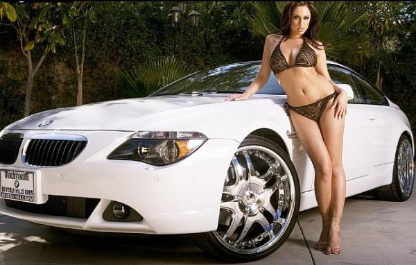 Sexy bikini girl & white BMW