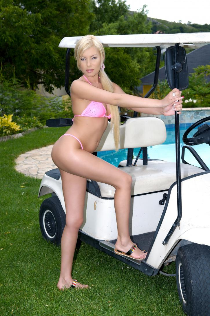 Sexy Blonde on a Golf Car