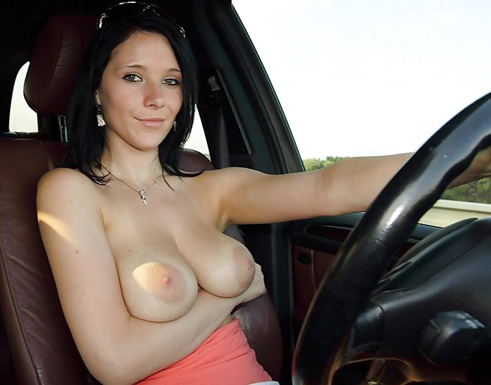 Car showing tits in public would not