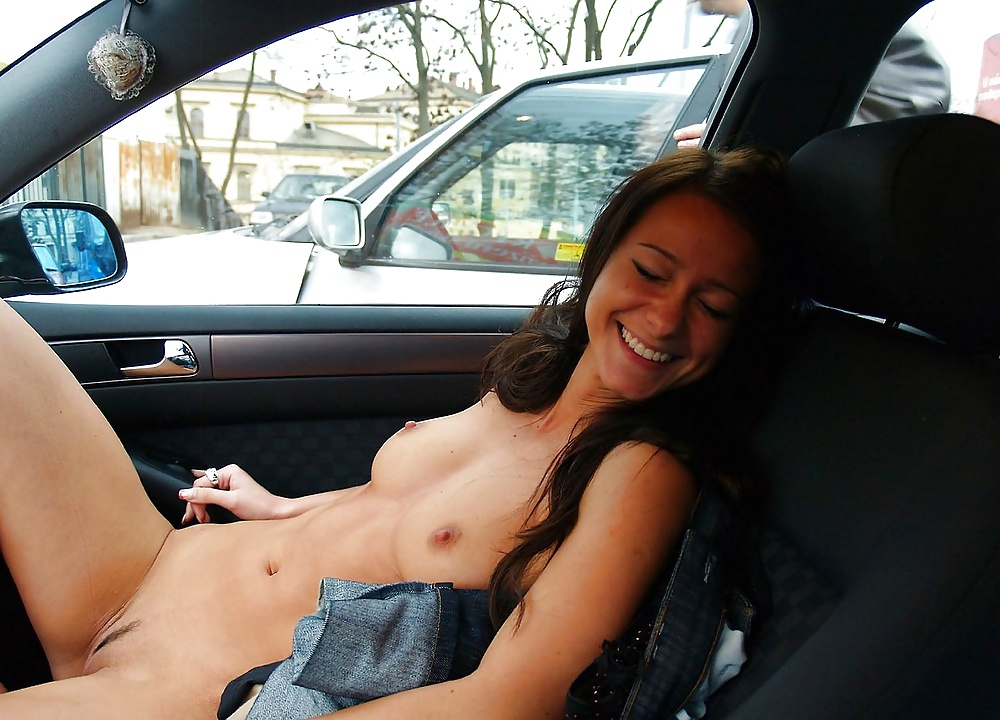 bitches naked in the car