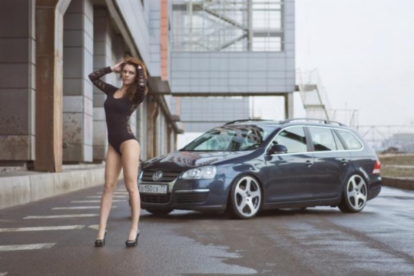 Sexy Girl & Volkswagen After a Rain