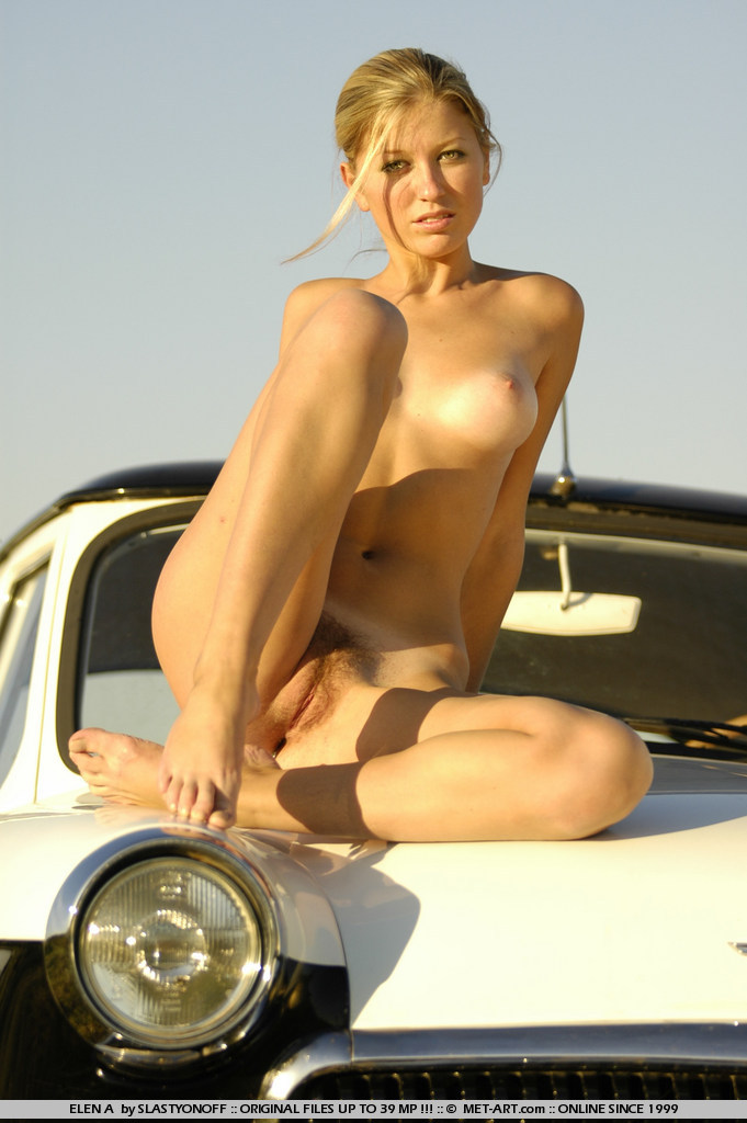 Sexy and beautiful blonde Elen posed with expensive cars