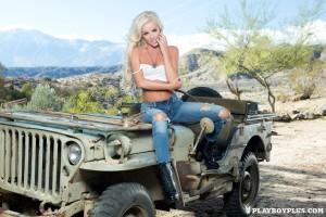 Sexy amateur blonde girl Jennifer Ann posed on Jeep for PlayboyPlus