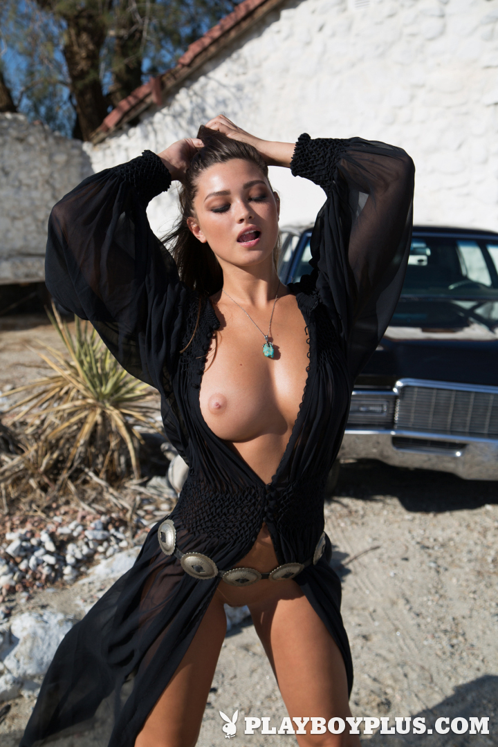 Hot Brunette Babe Chelsie Aryn and Vintage Car