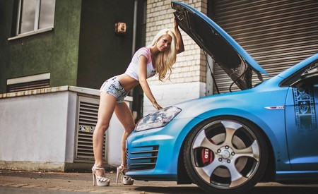 Sexy Blonde Angela pose with cars