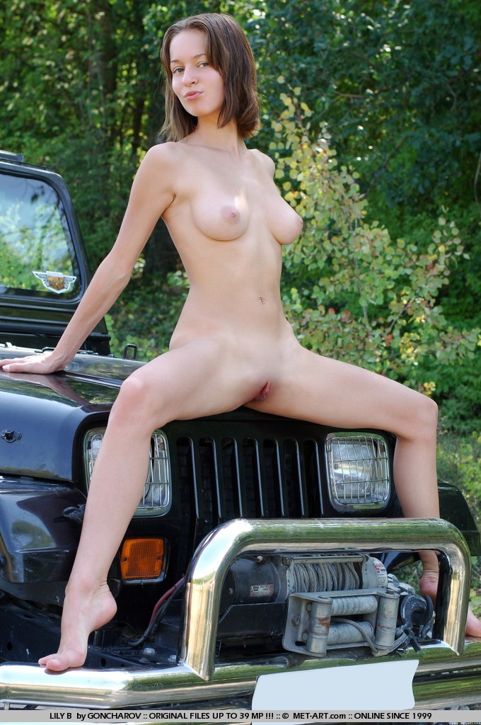 Naked girls posing on cars there can
