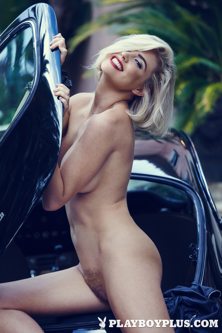 Hot Blonde Babe Kayslee Collins in A Classic Car