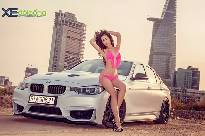 Sexy Quynh Tien and BMW 328i