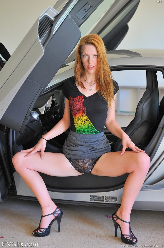 Sexy Redhead Teen Lacie & Hot Car