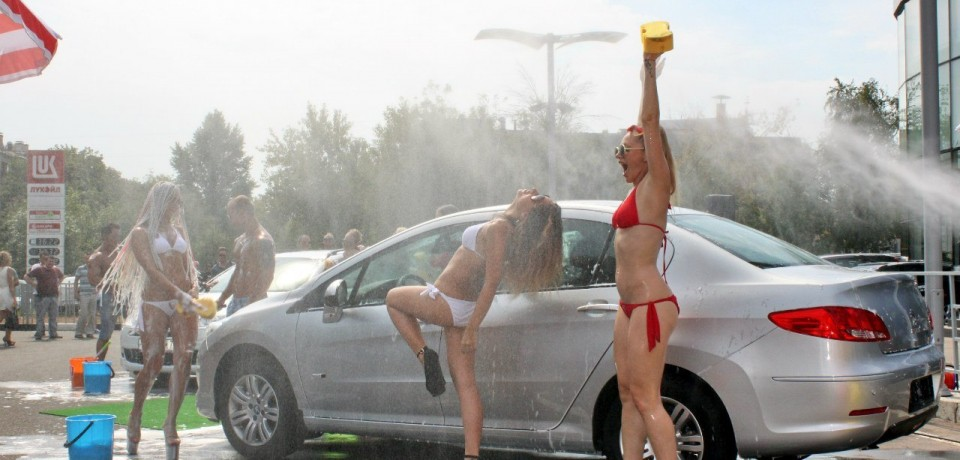 Sexy car wash girls in Moscow, Russia